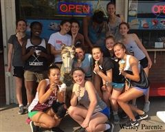 The Girls Junior Varsity Lacrosse team runs to Bill's Carousel Ice Cream for a treat after a tough week of games.