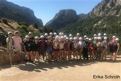 The Tour Choir poses while hiking at El Caminito del Ray in central Spain.