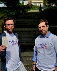 Teachers Ian Guthrie and Richard Thornburgh kick off their campaign in custom T-shirts.