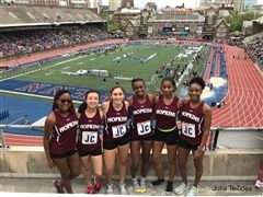 The Hopkins Girls Track and Field Team at the 2019 Penn Relays. From left to right: Lizabeth Bamg- boye '20, Maliya Ellis '19, Julia Tellides '20, Ranease Brown '21, Kaila Spearman '21, Jasmine Simmons '21
