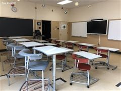 The new classroom furniture is easily maneuverable for different classroom set-ups.