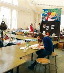 Visual Arts students work on a project in a Thompson studio.