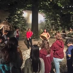 History teacher Sarah Belbita photographed seventh graders at the Pequot Museum during exam week.