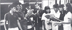 Melchinger '88 and fellow Harmonaires practice their repetoire.