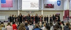 Triple Trio and Spirens perform together at last year's Women's Day Assembly.