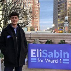 On November 5, 2019, Sabin greeted voters as they walked into polling centers. Photo by Eli Sabin '18