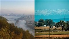 Pictured to the left, pollution blocks the Himalayan mountains before quarantine. But on the left, the mountains are visible in India for the first time in thirty years.