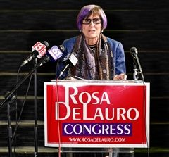 Democratic Congressional Representative Rosa DeLauro gives victory speech after being elected to chair the House Appropriations Committee.