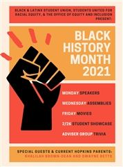The events for Black History Month include speakers, movies, and the Student Showcase on February 26.