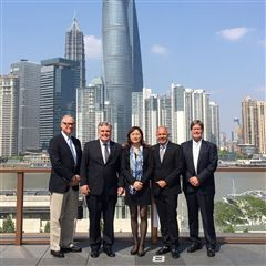 Webb Trustee Miles Rosedale '69, Head of Schools Taylor Stockdale, Sherry Cai P '18, Director of College Guidance Hector Martinez and Director of Institutional Advancement Dutch Barhydt in Shanghai.