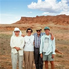 Wann Langston, Mary Rose, Hugh Rose, and Donald Lofgren along the Flaming Cliffs of the Gobi Desert in 1995