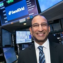 Sameer Dholakia '91 at the New York Stock Exchange.