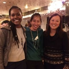 Kim Austin '17 and Becca Liu Cheng '06 with Senior Director of Development and Alumni Relations Laura Wensley.