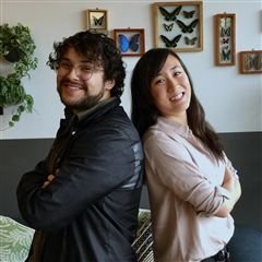 Ariel Fan '10 and Edman Urias '10 at their office in WeWork Pasadena.