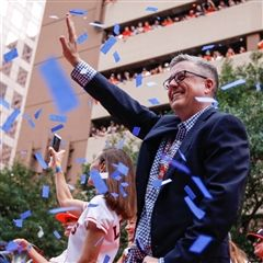 Jeff Luhnow '84 at the Astros' victory parade in Houston, TX. (Photo courtesy of Houston Astros)