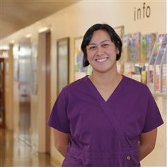 Stephanie Baron '96 pictured in the Health Center.