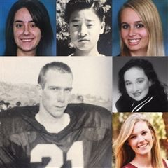 High school photos of Will Allan '94, Christina Duron '08, Anthony Shin '99, Lexus Beaman '08, Harason Horowitz '02 and Jessica Rice '12.