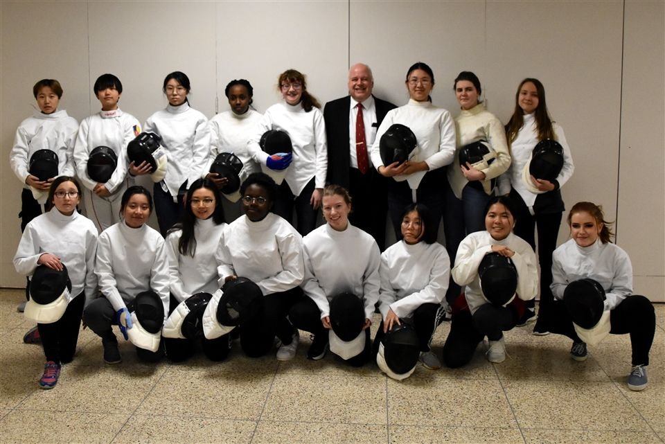 Grier Fencing Foxes 2019 - Kirin, Zai, Judy J, Judy L, Jasmine L, Olga, Shoshi, Minh Anh, Quin, Saffie, Lizzie, Lillian, Michelle S*, Elsie, Nguyen, and Lucy W*.