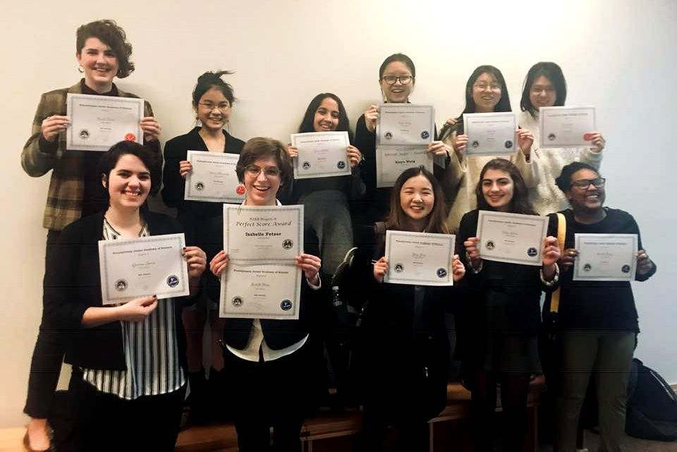 Congratulations to the students who participated in the Pennsylvania Junior Academy of Science (PJAS) regional competition. Nodoka M, Rachel S, and Amber L received second place awards, while Gia S, Celine J, Yasmin G, Judi L, Betsi D, and Vivian Y took first place awards. Isabelle F received a first place award with a perfect score and Cindy W received a first place award with a special judge's award.