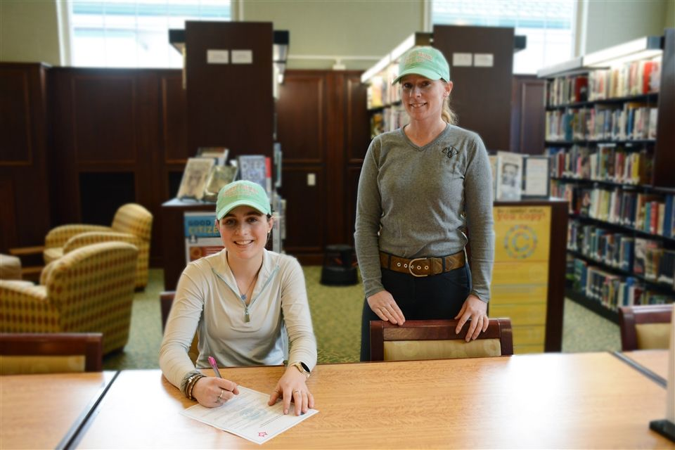 With riding coach Chrystal Coffelt-Wood by her side, Grier senior Varsity rider Sophie K. signed with Sweet Briar College where she will compete on their NCAA Hunt Seat Riding Team!