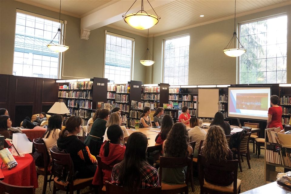 Grier students and faculty attended a presentation by regional broadcast media professional Carolyn Donaldson on Tuesday afternoon in the Library. The presentation was the culmination of the Library's One School, One Story, a program that invites all members of the Grier community to read the same book and participate in a series of discussions and related events. This school year, Grier read I Am Malala: How One Girl Stood Up for Education and Changed the World by Nobel Peace Prize recipient Ma