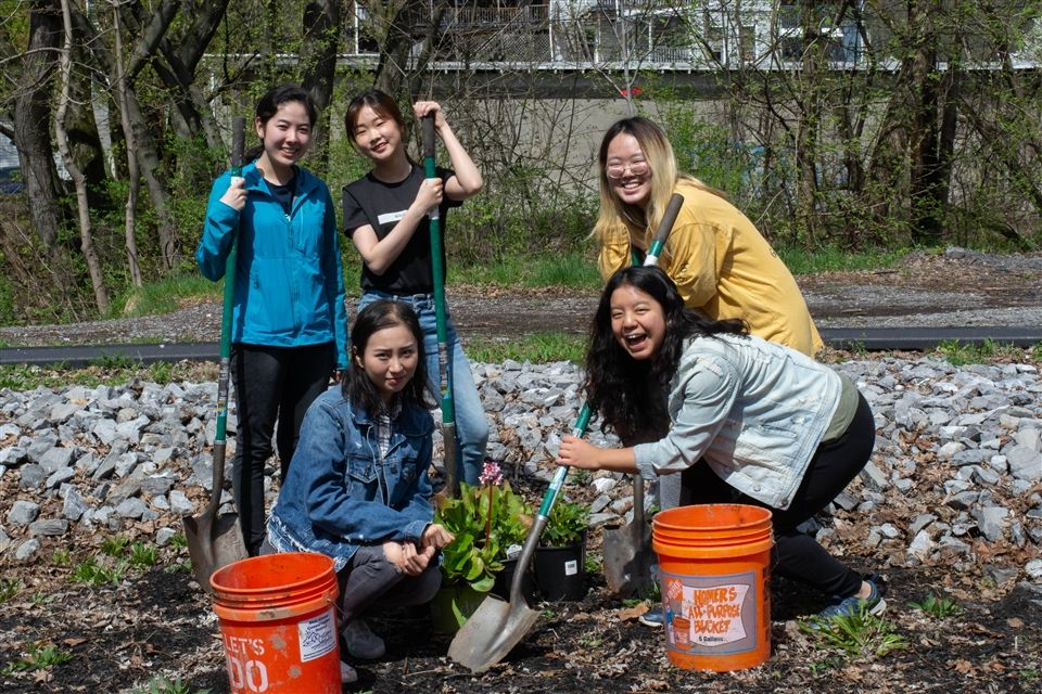 Grier students are helping to keep local waters clean by building and maintaining a local rain garden. A group of Grier volunteers spent part of Saturday clearing the garden clear of litter, mulching, adding new plants, and watering them with nearby river water.