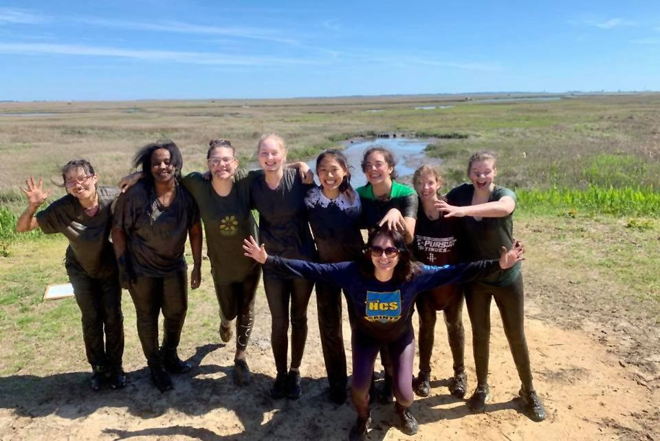 Dr. Burke and her students Lenox B, Jenna P, Luisa Q, Elsie U, Isabella H, Kayla M, Thea N, Sherry X at the Chincoteague Bay Field Station on Wallops Island, Virginia.