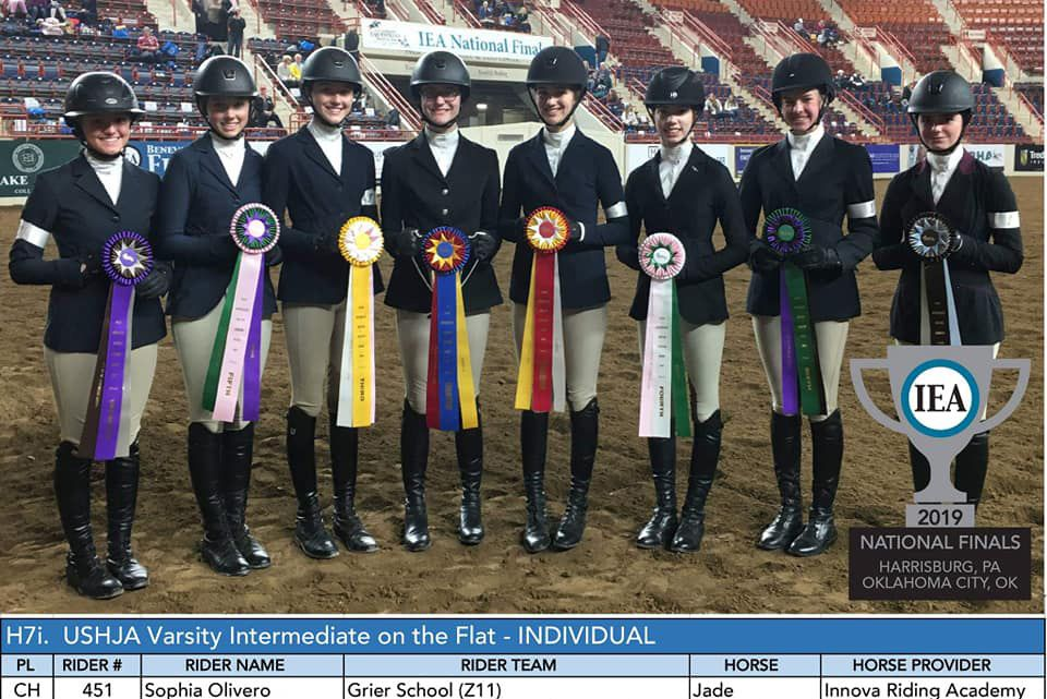 Congratulations to the Grier School Equestrian Team on their fantastic showing at IEA Hunt Seat Nationals in Harrisburg, Pennsylvania! Ninth grade rider Sophia O was named 2019 National Champion in Intermediate Equitation on the Flat. Plus, Grier School Equestrian Team won the Team Spirit award for the 2nd year in a row!