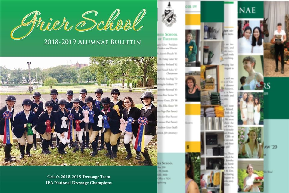 The 2018-19 Alumnae Bulletin is available right now online in myGrier and is making its way to alumnae mailboxes.