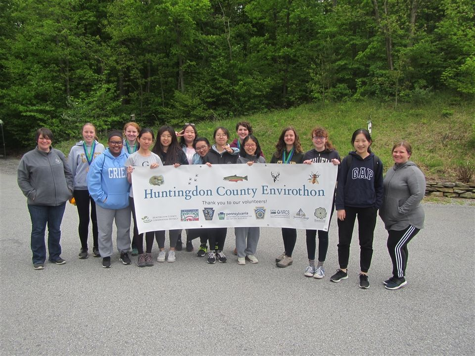 Three teams of Grier students competed against other area high schools in an Envirothon event hosted by Juniata College at the Raystown Lake Field Station on Raystown Lake in Huntingdon Country, Pennsylvania. One Grier team came in 3rd place! Rachel S, Clare E, Abby S, and Maggie A also tied for high score in current events as well as placing 3rd.