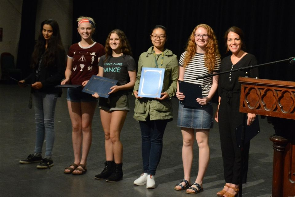 English Award winners Aahana, Marcella, Samantha, Amy, and Maggie with Mrs. Lawler. Nodoka was at a science competition.