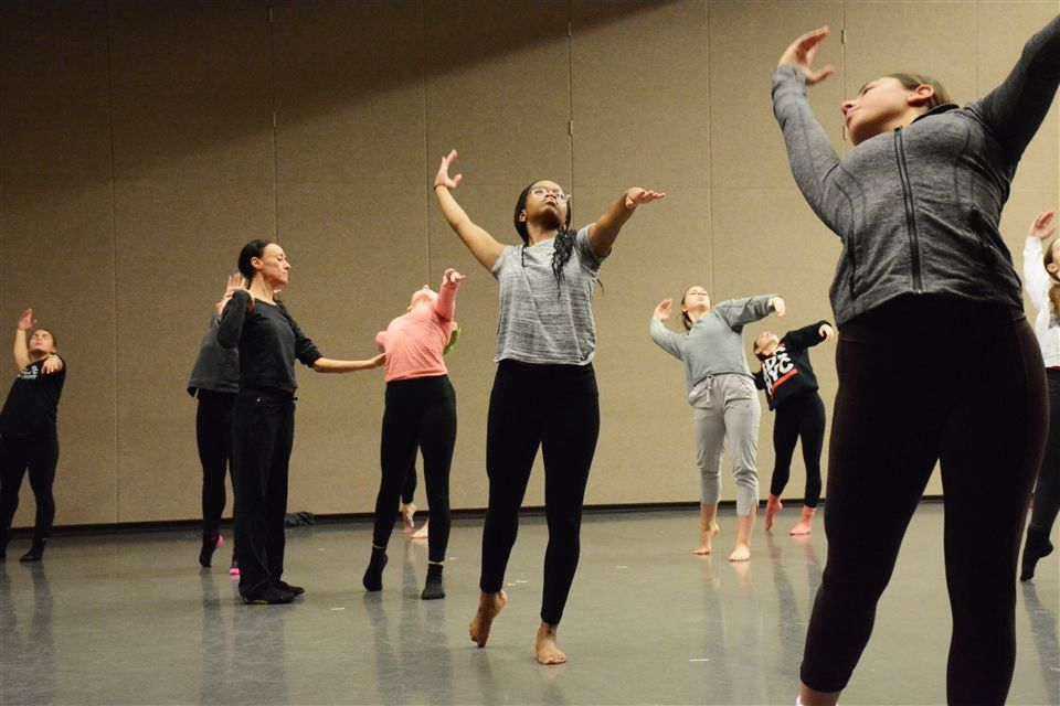 Melissa Rector, the Assistant Artistic Director and Dancer with the Koresh Dance Company works with Grier's  Pre-Professional dancers.