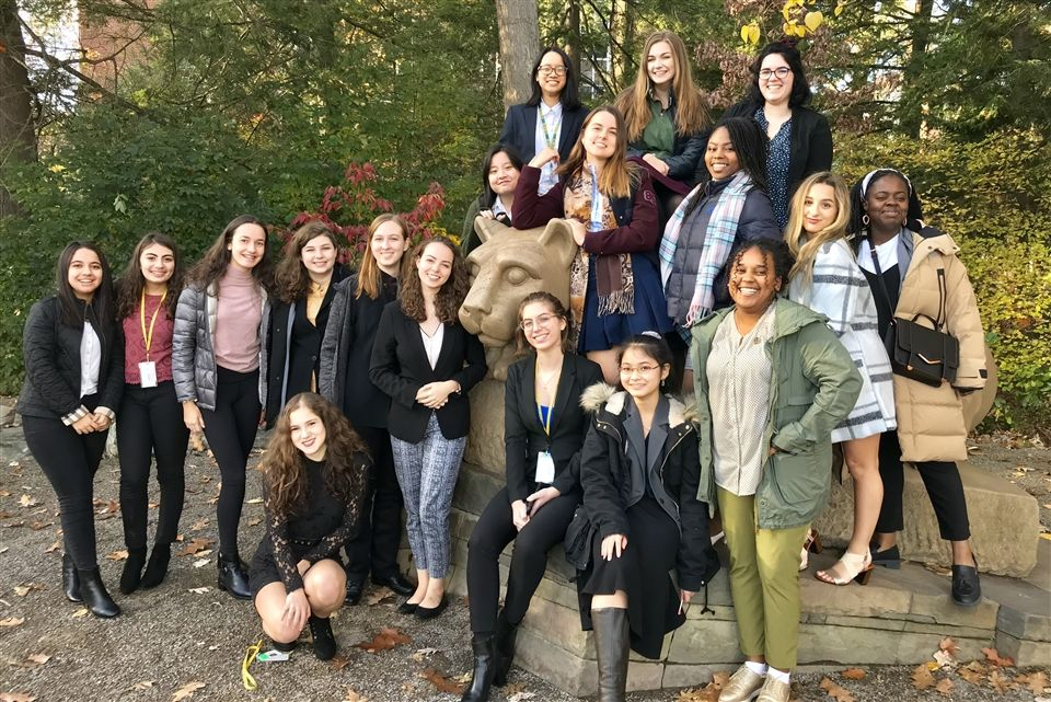 Grier Model UN Club gathers around the famous Nittany Lion Shrine on Penn State Campus.