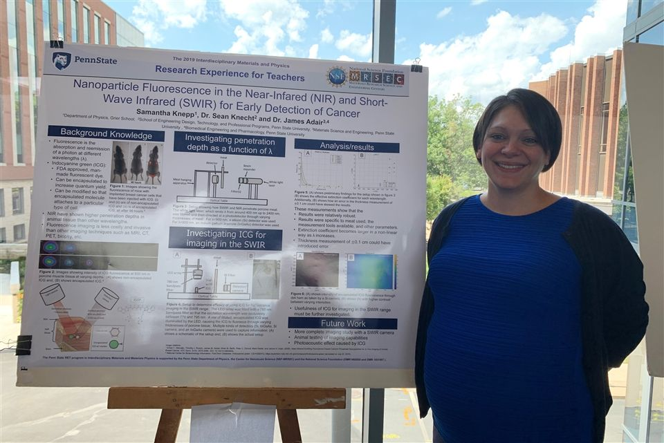 Mrs. Knepp participated in Penn State's Materials Science Research Experience for Teachers (RET) Program where she conducted research on emerging bio-imaging technology using infrared nanoparticles.