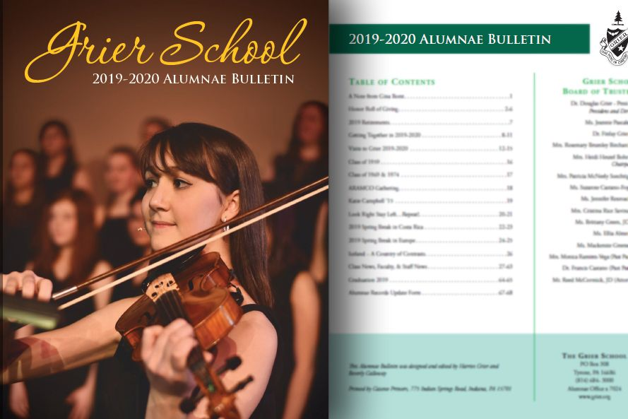 The 2019-20 Alumnae Bulletin is available right now online in myGrier and is making its way to alumnae mailboxes.