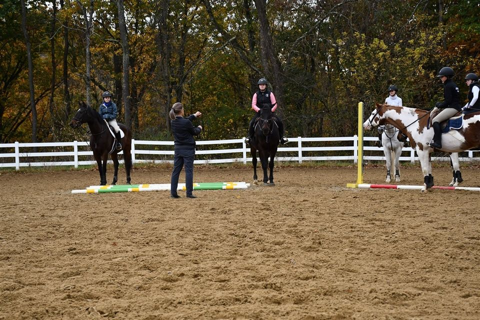 Kristen Kocher Gretok, Head Coach of Penn State's Equestrian Team giving a clinic at Grier. -Lucy H.