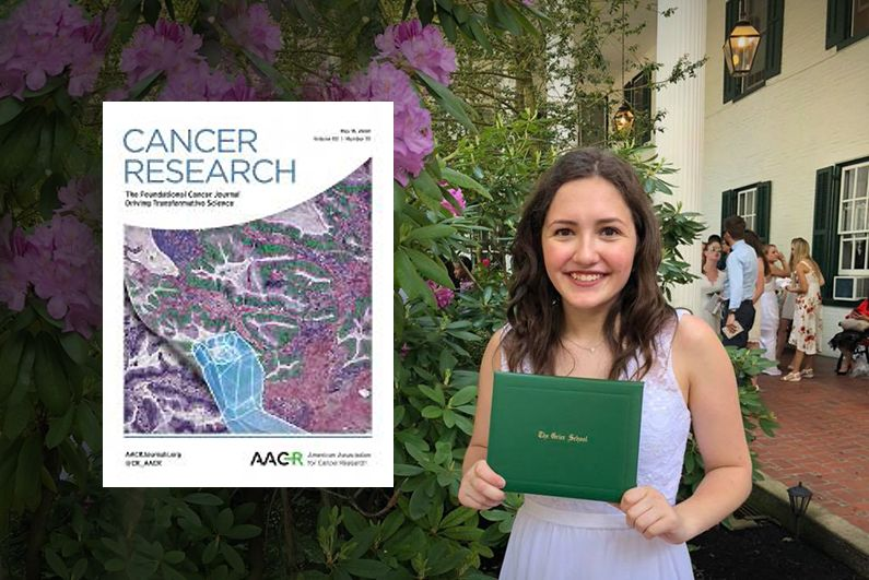 "Annie at Grier Graduation May 2018 and the cover of ""Cancer Research"" journal May 2020."