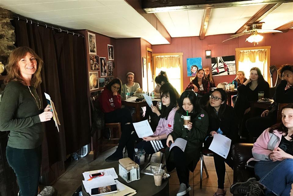 Lee Peterson, instructor of Creative Writing and Women's Studies at Penn State, Altoona, came to Grier School's Coffee Barn on Sunday, February 26th, for a reading of her own poetry and to lead Grier students in a guided poetry workshop.