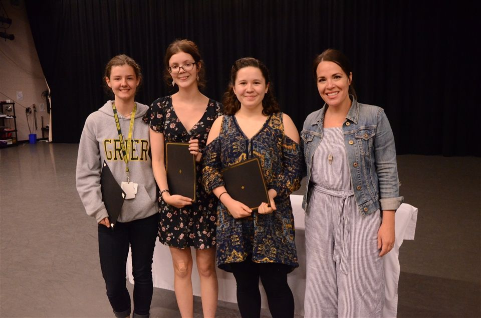 English Department award recipients Clare, Heather, and Mary with Ms. Kara Lawler.