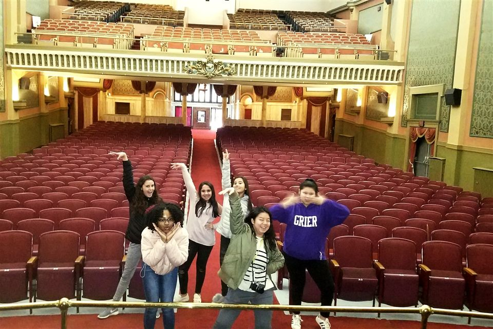 Students in Grier's Intro to Acting class toured the historic Rowland Theatre in nearby Philipsburg, Pennsylvania, to learn more about the role of theaters in American culture and how entertainment on the stage and silver screen have changed over time.