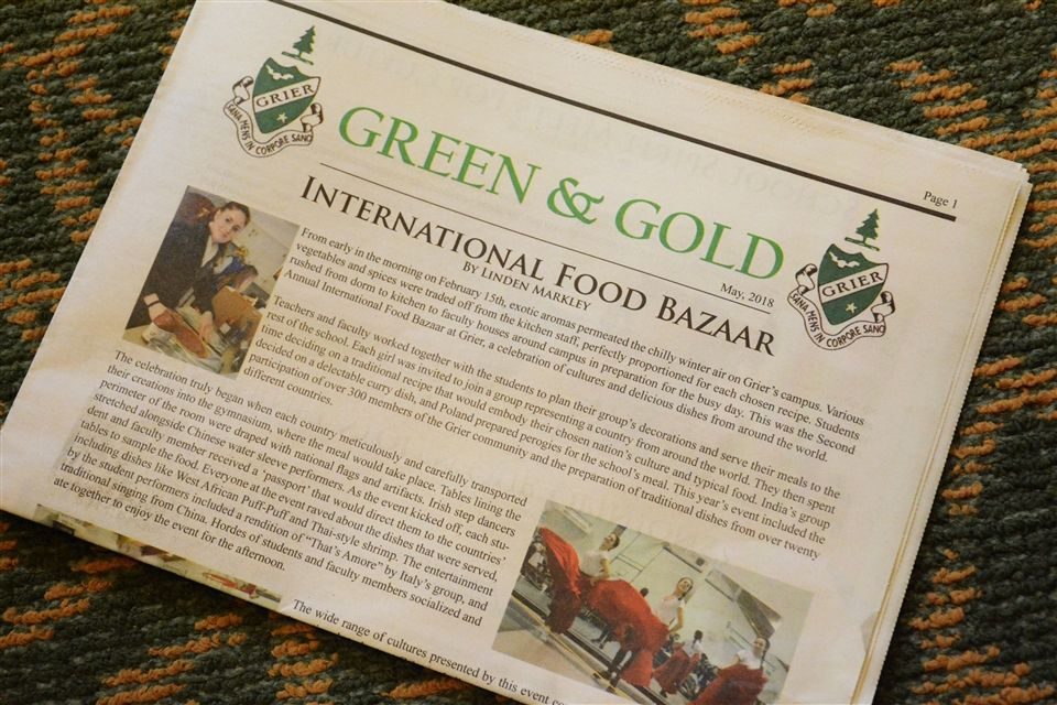 The Green and Gold is Grier's School newspaper.