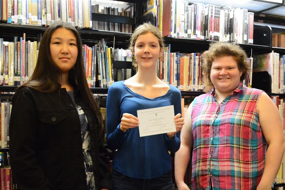 Grier congratulates our 2018 National Merit® Commendation recipients Michelle, Heather, and Rachel.