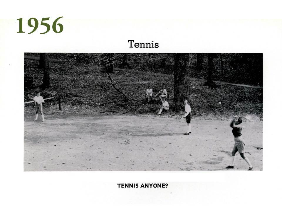 The tennis courts of the 1950s appear to be dusty rectangles on the hillside and not the modern blue and green surfaces now present at Grier.