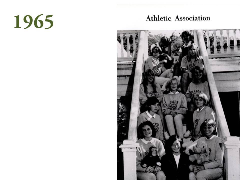 The 1965 yearbook shows a more casual take, with sweat suit clad members of the Athletic Association holding the two while posing for a club photo on the steps of Old Main.
