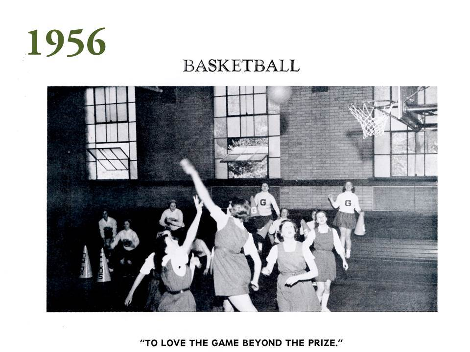 Images in the 1956 yearbook shows how Grier's facilities have grown and changed. One image shows girls playing basketball, wearing skirted jumpers in a brick gymnasium space that is now the home to Grier's beautiful, wood-paneled library.