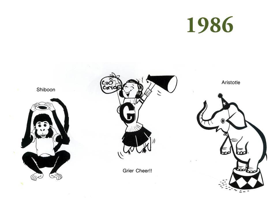 By 1986, the beloved stuffed figures are absent from team photos; however, their legacy remains in the form of cartoon drawings.
