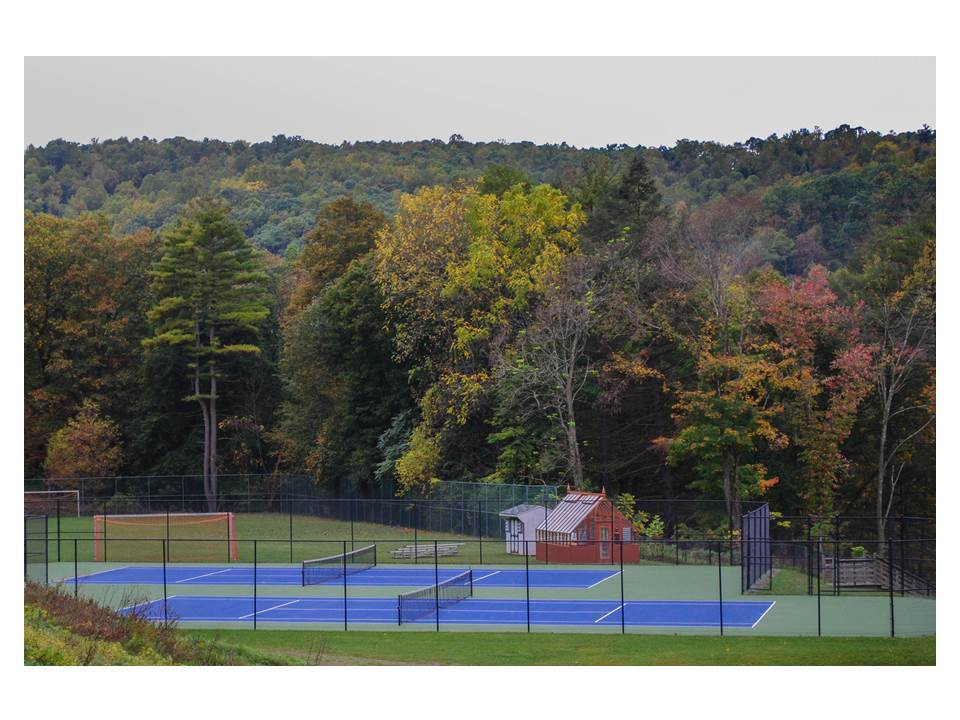 Tennis courts and soccer fields.