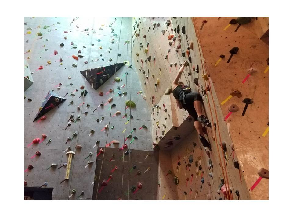 A weekend trip to a rock climbing gym.