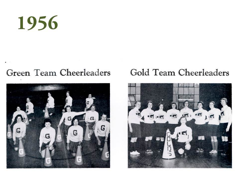 Another page has photographs of two cheerleading squads: the Green Team Cheerleaders and the Gold Team Cheerleaders, which is evidence that cheerleading was a popular part of athletics in the 1950s and that competition between Green and Gold teams was fierce.