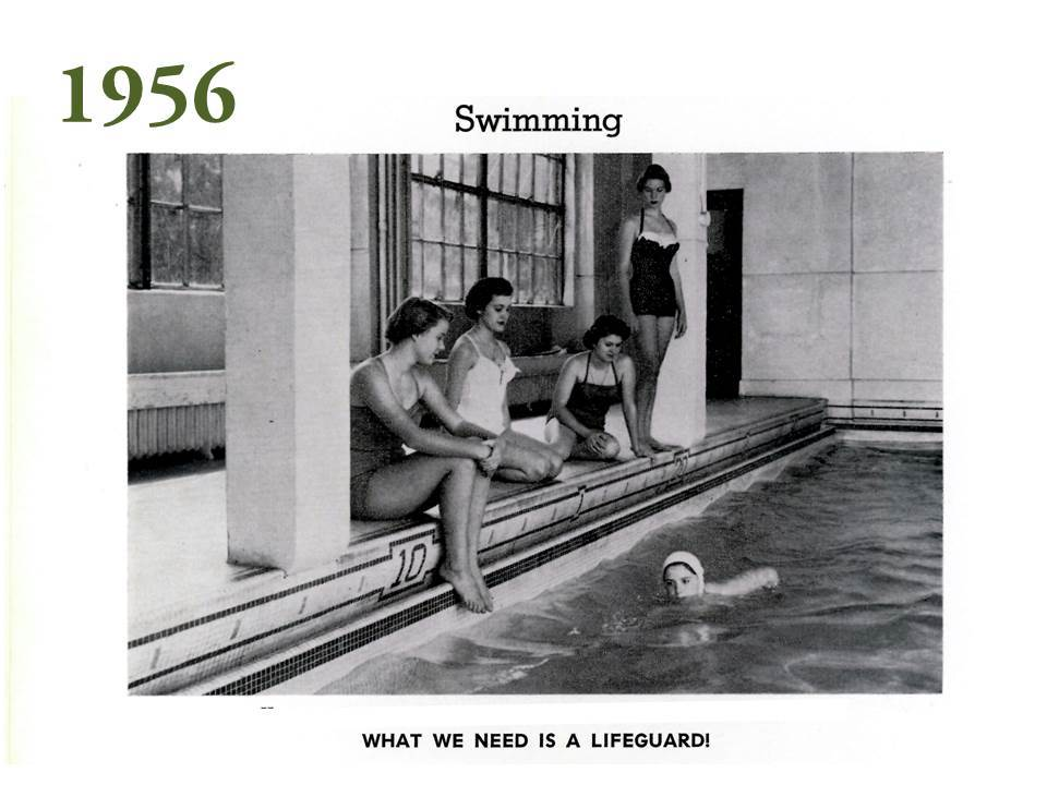 Here too, is a photo of the indoor swimming pool, which is now empty beneath the floorboards of a modern fitness center that features a suite of circuit training equipment, cardio machines, and free weights.